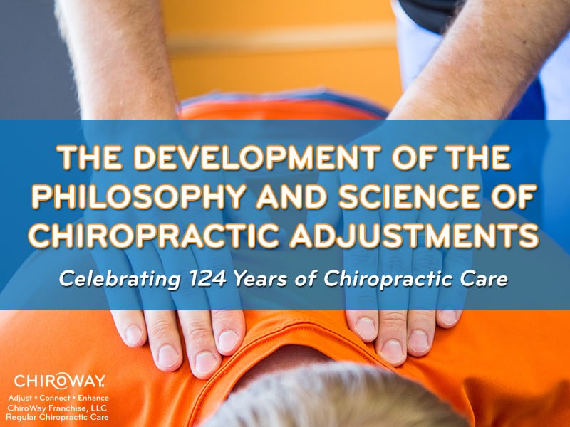 Celebrating 124 years of chiropractic, ChiroWay Chiropractic, image of chiropractor's hands palpating the spine