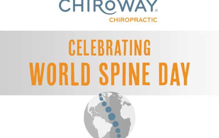 ChiroWay Franchise Celebrates World Spine Day, includes image of a globe and spine